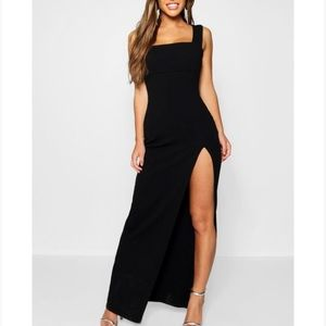 simple black gown with split